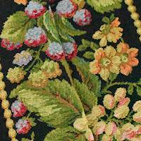 *3 YD PC--Black/Pink/Multi Strawberry Floral Tapestry Decor Fabric