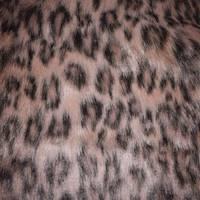 *3 YD PC--Beige/Black Leopard Print Faux Fur Knit
