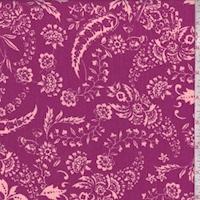 Dark Magenta Floral Scroll Crinkled Gauze