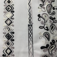 Pearl Grey Embroidered Deco Stripe Crinkled Gauze