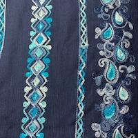 Navy Embroidered Deco Stripe Crinkled Gauze