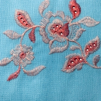 Sky Blue Embroidered Floral Textured Gauze