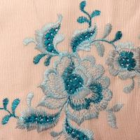 Peach Embroidered Floral Textured Gauze