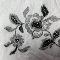 White Embroidered Floral Textured Gauze