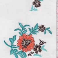 White/Orange/Teal Embroidered Floral Gauze