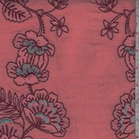 Salmon/Brick Embroidered Floral Gauze