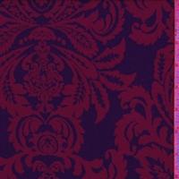Black/Mulberry Damask Jacquard Double Knit