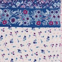 Parchment/Blue Floral Stripe Rayon Challis