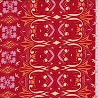 Fire Red/Pink Baroque Rayon Challis