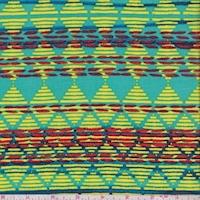 Turquoise/Lemon Linear Diamond Rayon Challis