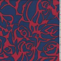*2 YD PC--Red/Royal Rose Floral Rayon Challis