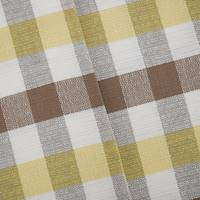 *1 1/2 YD PC--Brown/White/Yellow Checkered Plaid Woven Jacketing