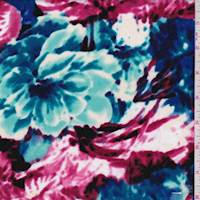 *1 3/8 YD PC--Turquoise/Magenta Bold Floral Ponte Double Knit