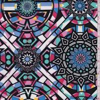*4 YD PC--White Multi Mosaic Medallion Scuba Knit