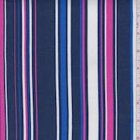 *1 3/8 YD PC--Dark Blue/Hot Pink Stripe Rayon Challis