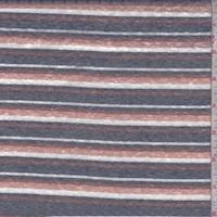Ink/Clay/Brick Stripe Slub Jersey Knit