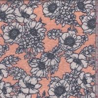 Day Glo Pink Floral Slub Jersey Knit