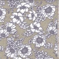 Cocoa Brown Floral Slub Jersey Knit