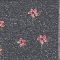 Vintage Navy Dogwood Floral Slub Jersey Knit