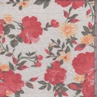 White/Coral Rose Slub Jersey Knit