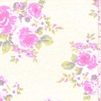 Pale Peach/Fuchsia Rose Slub Jersey Knit