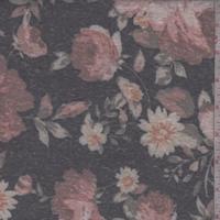 Black/Clay Floral Slub Jersey Knit