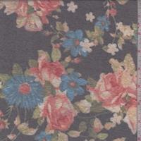 Black/Blue Floral Slub Jersey Knit