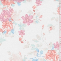 White/Fuchsia Floral Slub Jersey Knit
