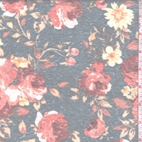 Slate Blue Rose Slub Jersey Knit