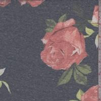 Dark Ink Blue Rose Slub Jersey Knit