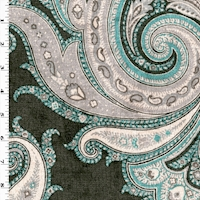 *8 3/4 YD PC -- Teal/Gray/Multi P Kaufmann Paisley Printed Chenille Decorating Fabric