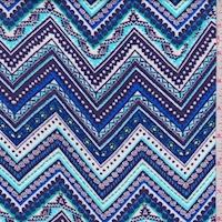 Turquoise/Cobalt/Navy Zig Zag Rayon Challis
