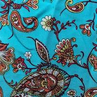 Turquoise Stylized Paisley Rayon Challis
