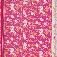 Berry/Gold Floral Stripe Rayon Challis
