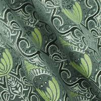 *2 7/8 YD PC--Rainy Green/Multi Abstract Acanthus Silk Blend Jacquard