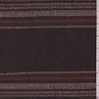 *6 YD PC--Brown/White/Multi Wool Blend Herringbone Stripe Jacketing