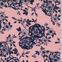 Peach Pink/Navy Floral Crepe Georgette