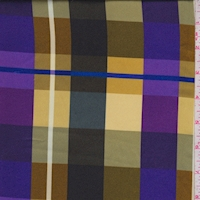 Purple/Gold/Olive Plaid Satin Charmeuse