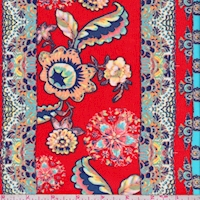 Red/Turquoise Floral Stripe Georgette