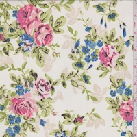 White/Pink/Blue Rose Bunch Georgette