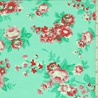 Aquamarine/Red Rose Vine Georgette