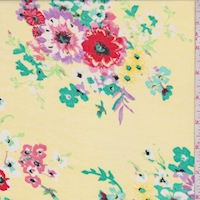 Yellow Multi Floral Bunch Georgette