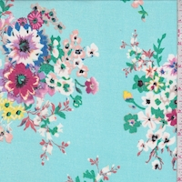 Bright Turquoise Multi Floral Bunch Georgette