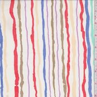 White Multi Wavy Stripe Georgette