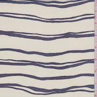 Ivory/Black Wavy Double Stripe Georgette