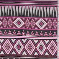 Black/Maroon Aztec Stripe Georgette