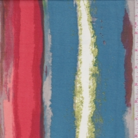 Teal/Red/Lime Striated Stripe Georgette