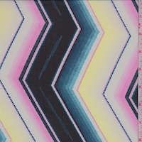 Black/Lemon/Pink Jagged Chevron Georgette