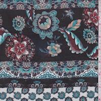 Black/Teal Floral Stripe Georgette