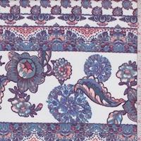 White/Purple Floral Stripe Georgette